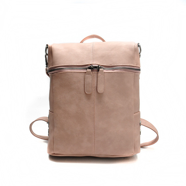 79a68126b614 Simple Style Backpack 2018 Women PU Leather Backpacks for Teenage Girls  School Bags Fashion Vintage Solid Shoulder Bag Pink