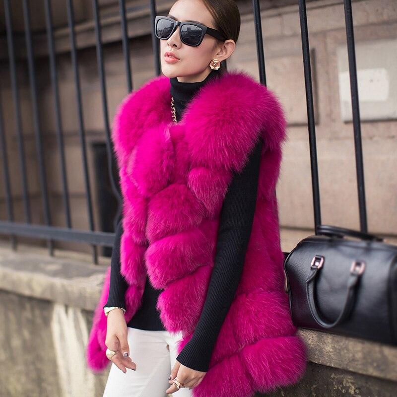 Hot nový Argyle design klasický teplý Fox kožich nádherná 100% originální ženy zimní kabát módní bez rukávů tlustý luxusní kožešinová vesta