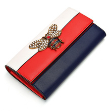 купить Womens Wallets and Purses Genuine Leather Wallet Women Luxury Brand Long Patchwork Clutch Wallets Money Bag Dropshipping 2019 дешево