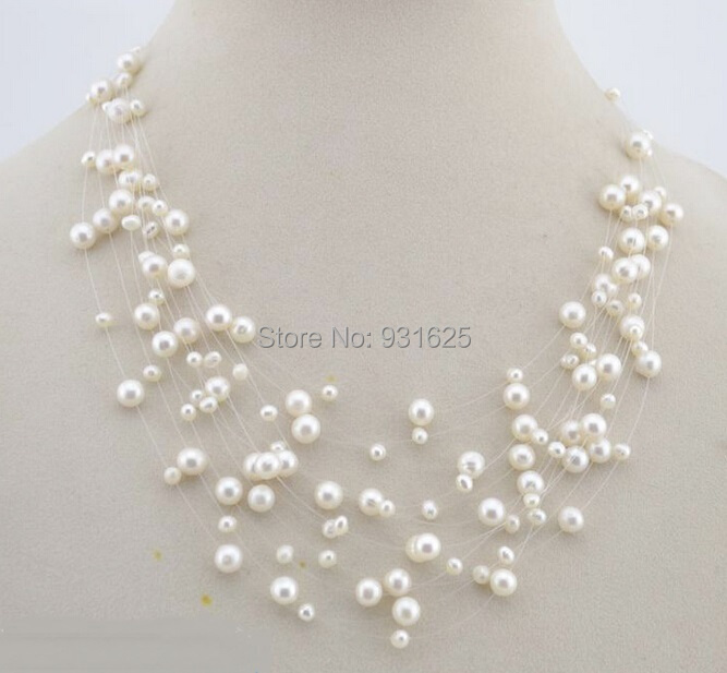 Top AAA White Nearround Real freshwater pearl Starriness Necklace Bride Wedding Chain Pendants Necklace Fashion Woman's Jewelry