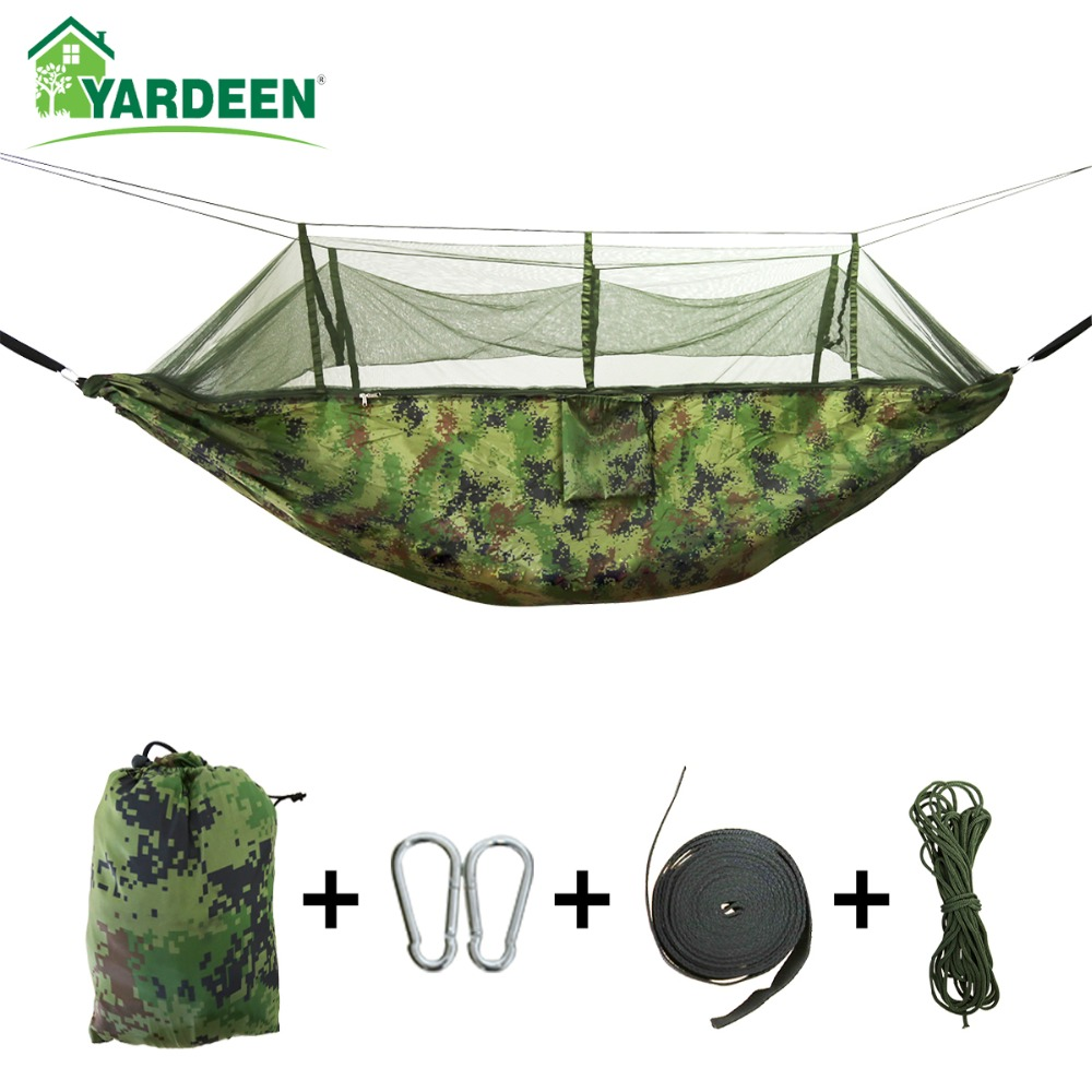 1-2 Person 260*140cm Camping Hammock Outdoor Mosquito Bug Net Portable Parachute Nylon Hammock for Sleeping Travel Hiking(China)