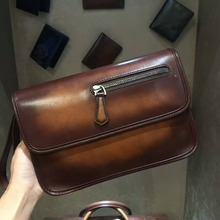 TERSE_2017 Hot sale leather clutch bag in tobacco handmade patina genuine leather handy bag with wrist loop clutch bag custom