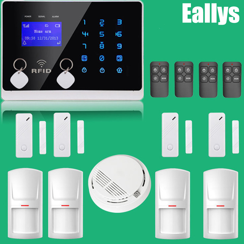PERFECT APP Controlled Wireless GSM Autodial Home Security Alarm System+Smoke Sensor+RFID