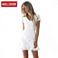MALLSHION Lace Dress Women White Elegant A Line Mini Dress Women Vintage Short Sleeve Ruffles Sexy
