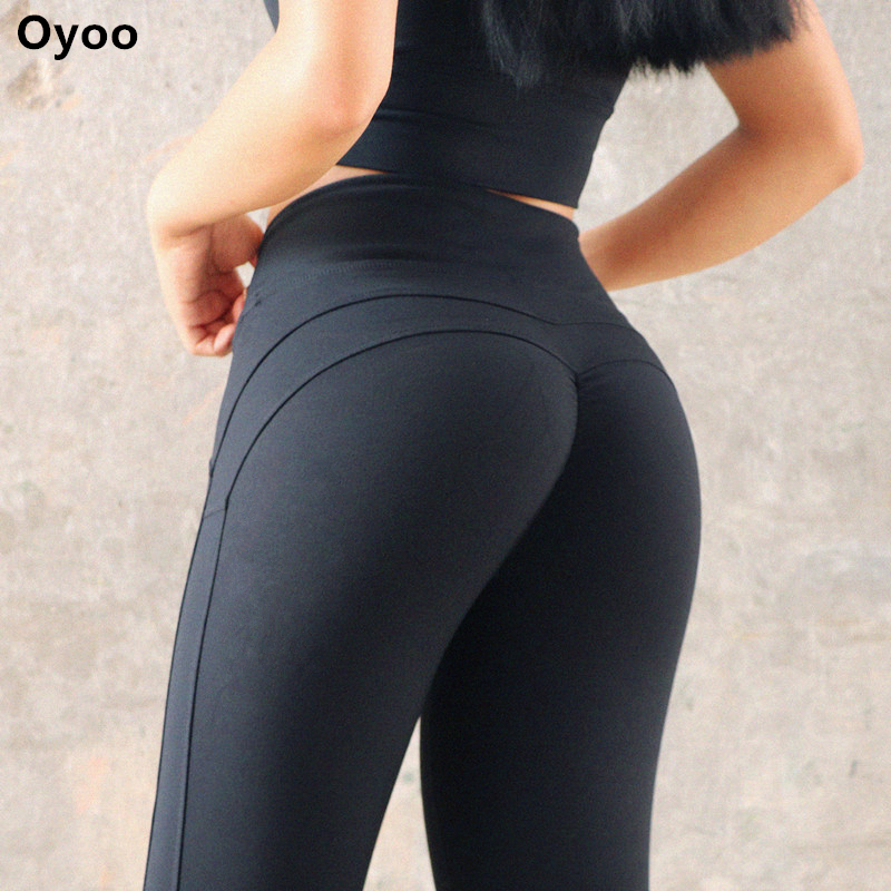 Thigts Oyoo Espólio Up Sports Compressão Legging das Mulheres Sólida M Linha Butt Lift Workout Leggings Hip Push Up Estiramento calças de Yoga