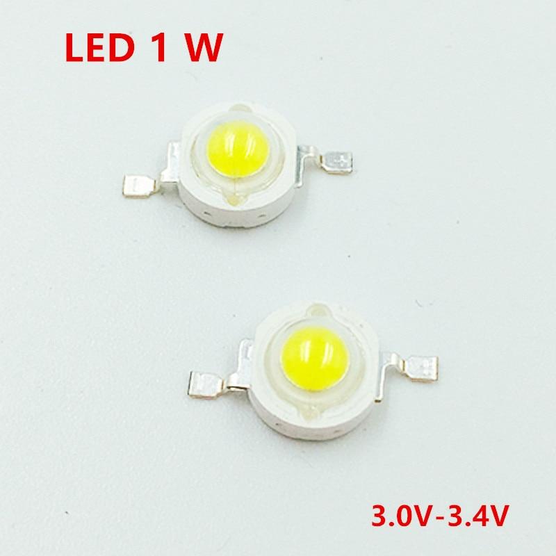 50pcs/lot Full Watt 1W 3W High Power LED lamp white warm white 120-130LM LEDs Bulb light Emitting Diodes Chip Red green RGB