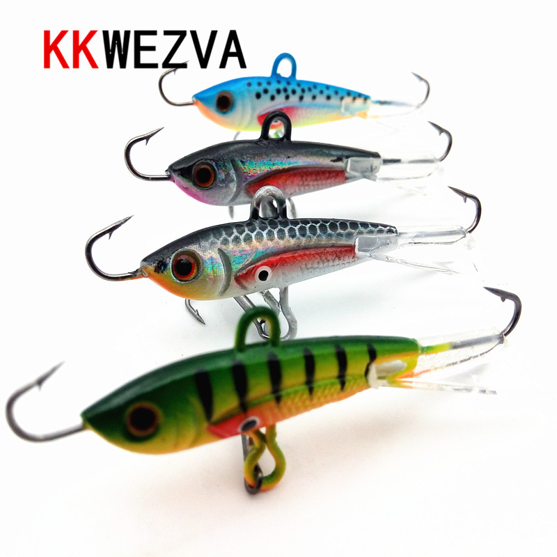 KKWEZVA 4ks 60mm 10g Rybářské návnady zimní Ledové rybaření Hard návnada Minnow Pesca Tackle Isca Umělá návnada Crankbait