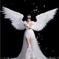 Белые Крылья Ангела из перьев Хэллоуин костюм модель для фотографирования t stage шоу свадебное крыло костюм, реквизит вечерние costplay украшени