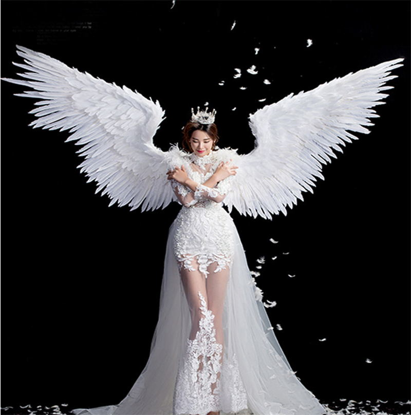 Ange blanc plumes ailes halloween costume photographie modèle t-stage spectacle mariage aile costume prop partie costplay décoration