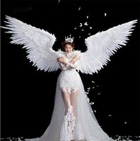 White Angel Feather wings halloween costume photography model t stage show wedding wing costume prop party costplay decoration