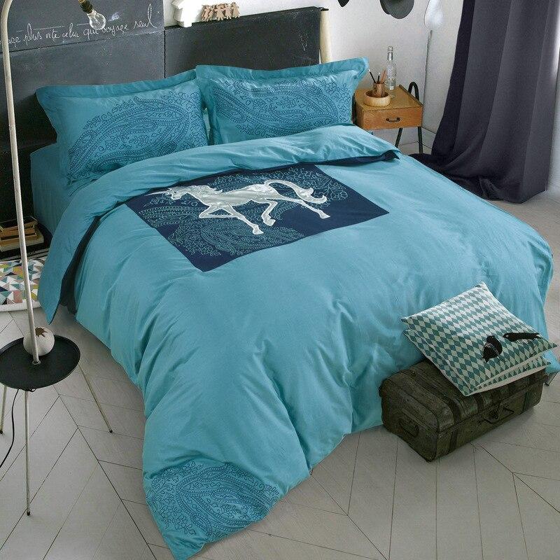 juego de cama azul serie unids edredn funda de edredn funda de almohada ropa