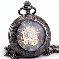 Retro Automatic Pocket Watches Men Women Skeleton Mechanical Clock Transparent Carved Lid Case with pendant Chain +Gift Box