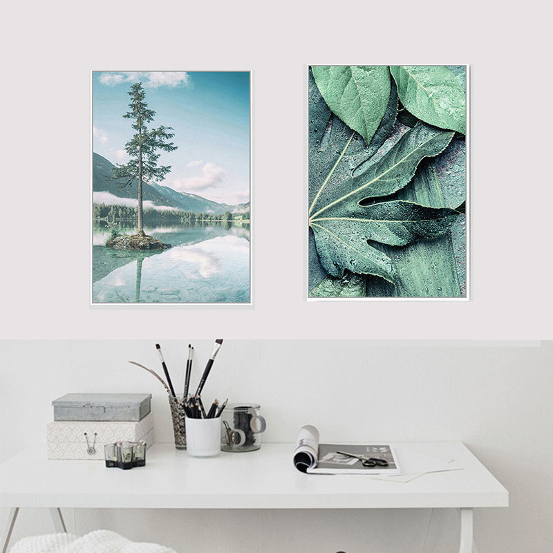 HAOCHU Canvas Landscape Print Home Fresh Mural Nordic Forest Peak Ocean Sky Blue Scenery Green Plant Decoration Painting Poster in Painting Calligraphy from Home Garden