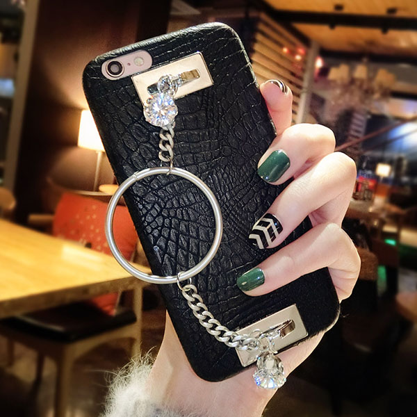 For iPhone 6 6S 7 Plus 8 Plus X Luxury Fashion Cool Rhinestone Bracelet Phone case Shine Soft PU Leather Rubber Back Cover DIY