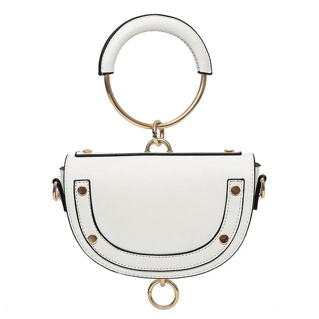 Circle Ring Handle Handbag Women 2017 Retro River Cover PU Leather Mini Saddle  Crossbody bag Brand Designer Shoulder Bag e4a6659adf0ff