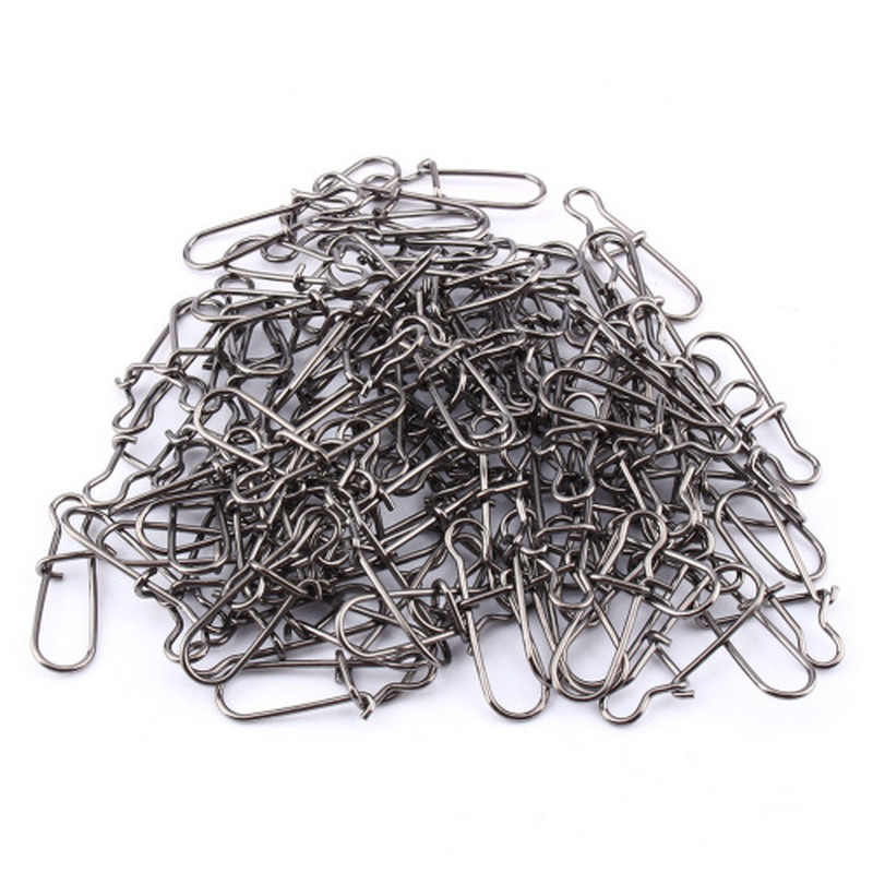 20pcs/bag Stainless Steel Hook Fast Clip Lock Snap Swivel Solid Rings Safety Snaps Fishing Hook Connector Snap Fishhook Lure