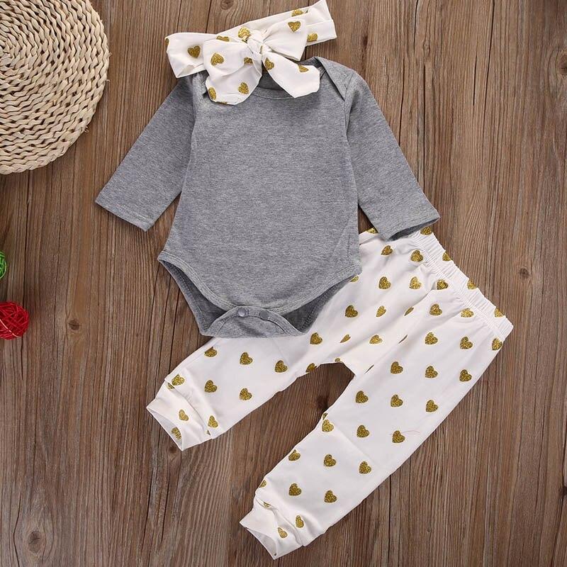 3pcsset Spring Autumn Baby Girls Clothes Sets Tops Shirt Pants Headband Infant Clothes Baby Kids Clothing set LA931441