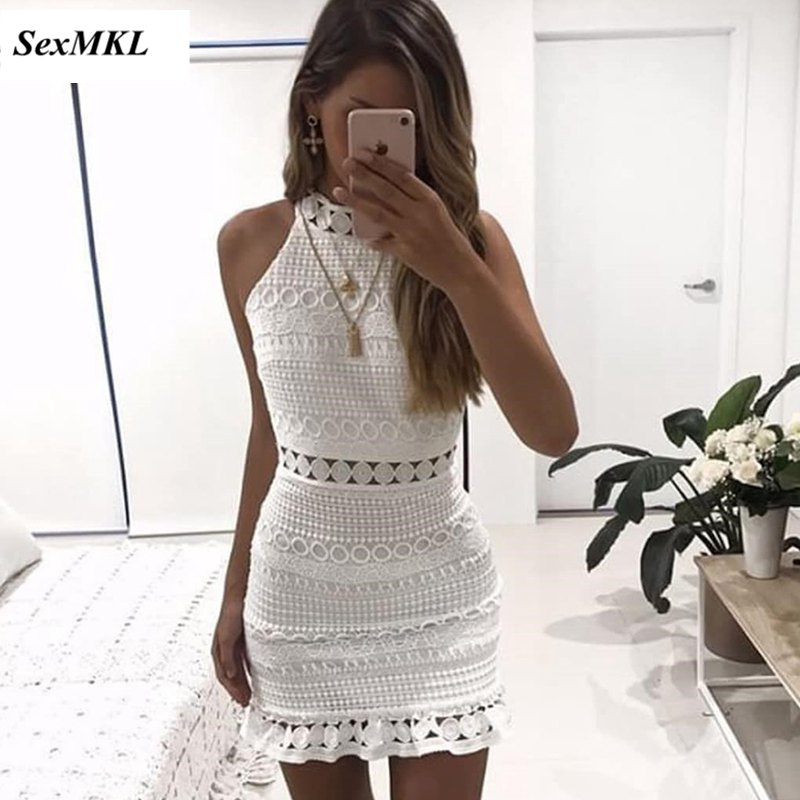 SEXMKL Vintage Hollow Out <font><b>Lace</b></font> <font><b>Dress</b></font> 2018 <font><b>Women</b></font> <font><b>Elegant</b></font> <font><b>Sleeveless</b></font> White <font><b>Dress</b></font> Summer Chic Party <font><b>Sexy</b></font> Beach <font><b>Dress</b></font> Vestidos Robe image
