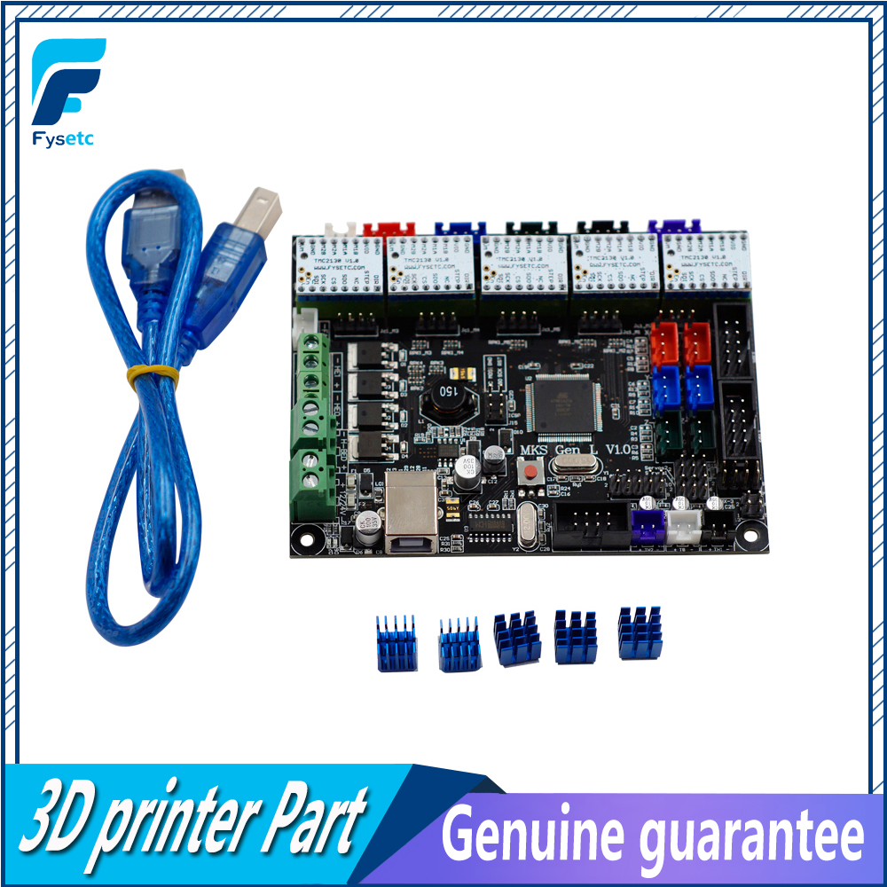 Integrated Mainboard MKS Gen-L V1.0 Board MKS Gen L v1.0 For Tarantula & Tornado + 5pcs TMC2130 V1.0 Stepper Drivers mks gen l v1 0 integrated mainboard mks gen l v1 0 compatible ramps1 4 mega2560 r3 with 5pcs tmc2100 v1 3 stepper drivers