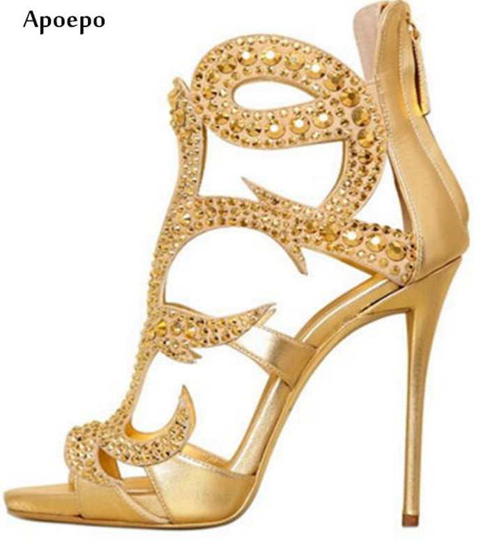 New Fashion Gold Crystal Embellished Woman Sandal Summer Open Toe High Heel Shoes 2018 Cutouts Gladiator Sandal new fashion big pearls beaded woman flat shoes 2017 sexy open toe sandal crystal embellished slides