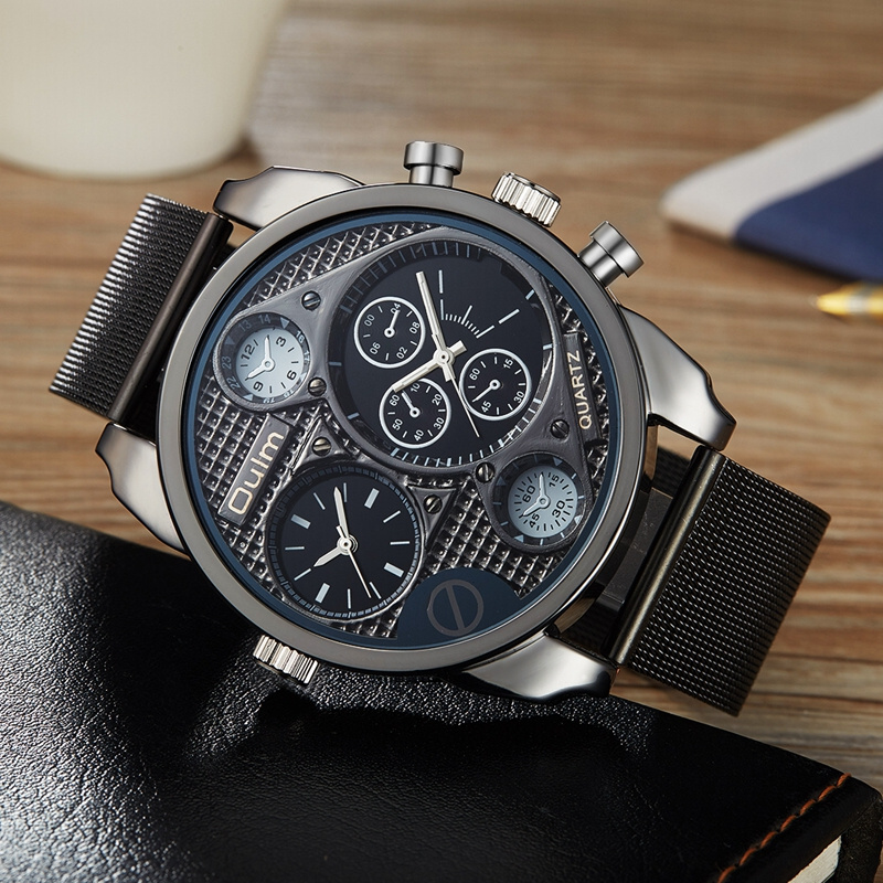 Oulm Two Time Zone Mesh Steel Watches Men Business Watch Casual Big Quartz Wristwatch Top Luxury Brand Male Military Clock brand oulm 9316b japan movt big face watches men triple time rose gold luxury analog digital casual watch relogio male original