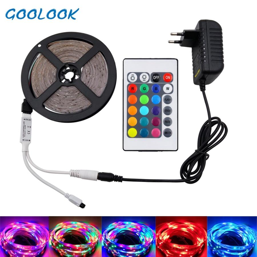 5m 10m 15m  LED Strip Light SMD 2835 DC12V Flexible Ribbon RGB Led Light Tape Lamp LEDs Light String For Decoration With Adapter
