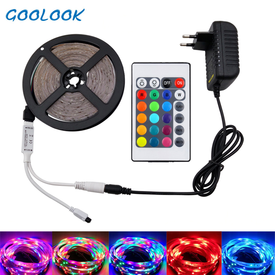 Goolook RGB LED Strip Light SMD 2835 DC12V Flexible Ribbon RGB Led Strip Tape Lamp LEDs Light String For Decoration With Adapter
