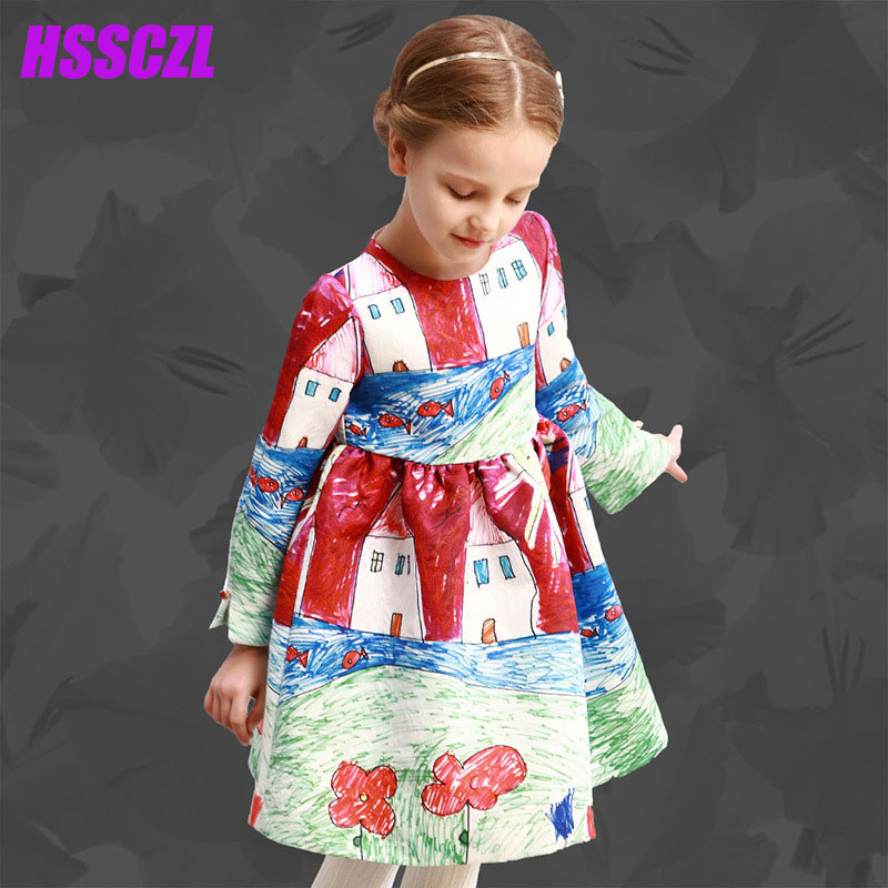HSSCZL 2017 Long-sleeved girls dress thicker child princess dresses printing spring autumn children 's dress Impression pattern children s spring and autumn girls bow plaid child children s cotton long sleeved dress baby girl clothes 2 3 4 5 6 7 years