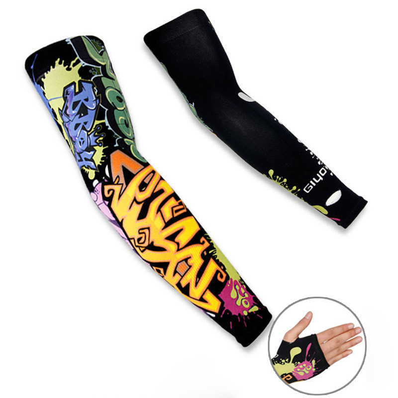 1 Pair Cycling Sports Tattoo UV Block Cool Arm Sleeves Armwarmer Cover Sun Protection Skull Bike Bicycle Arm Sleeves Protector sahoo 45545 outdoor cycling polyester arm sleeves white green pair xxl