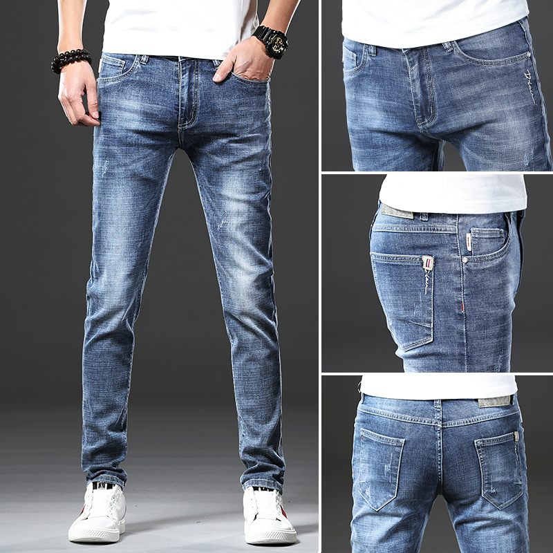 Jantour Brand Skinny jeans men Slim Fit Denim Joggers Stretch Male Jean Pencil Pants Blue Men's jeans fashion Casual Hombre new Men Men's Bottoms Men's Clothings Men's Jeans