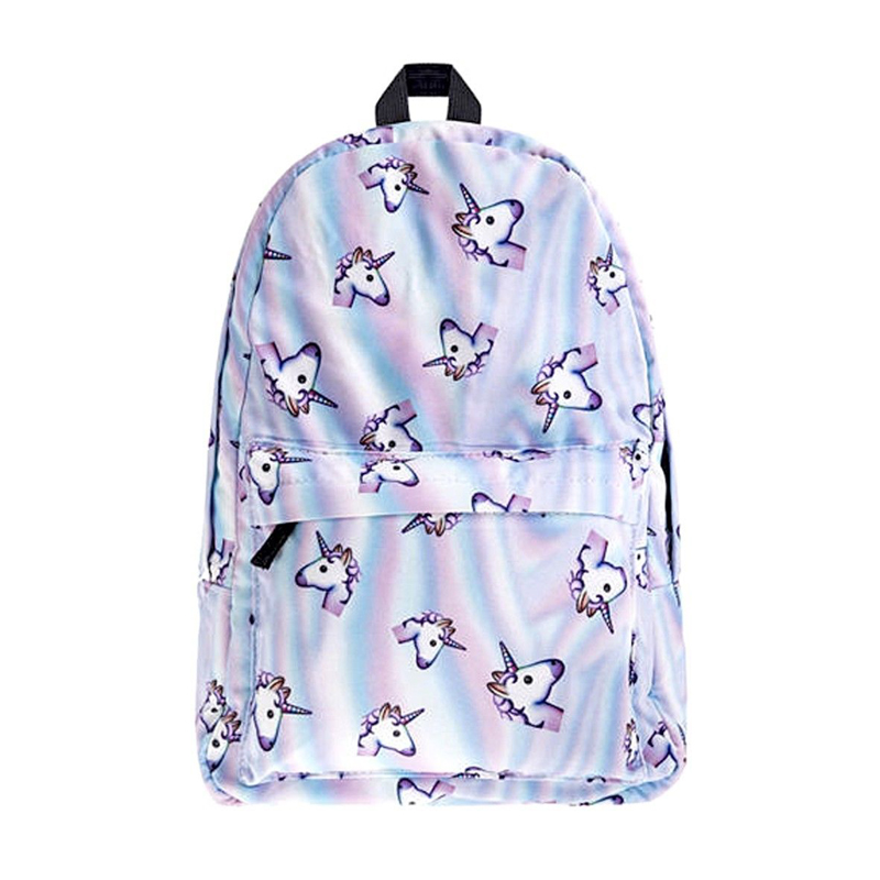 все цены на 2017 hot rainbow unicorn women backpack 3d print travel bag girls teenagers school backpack notebook