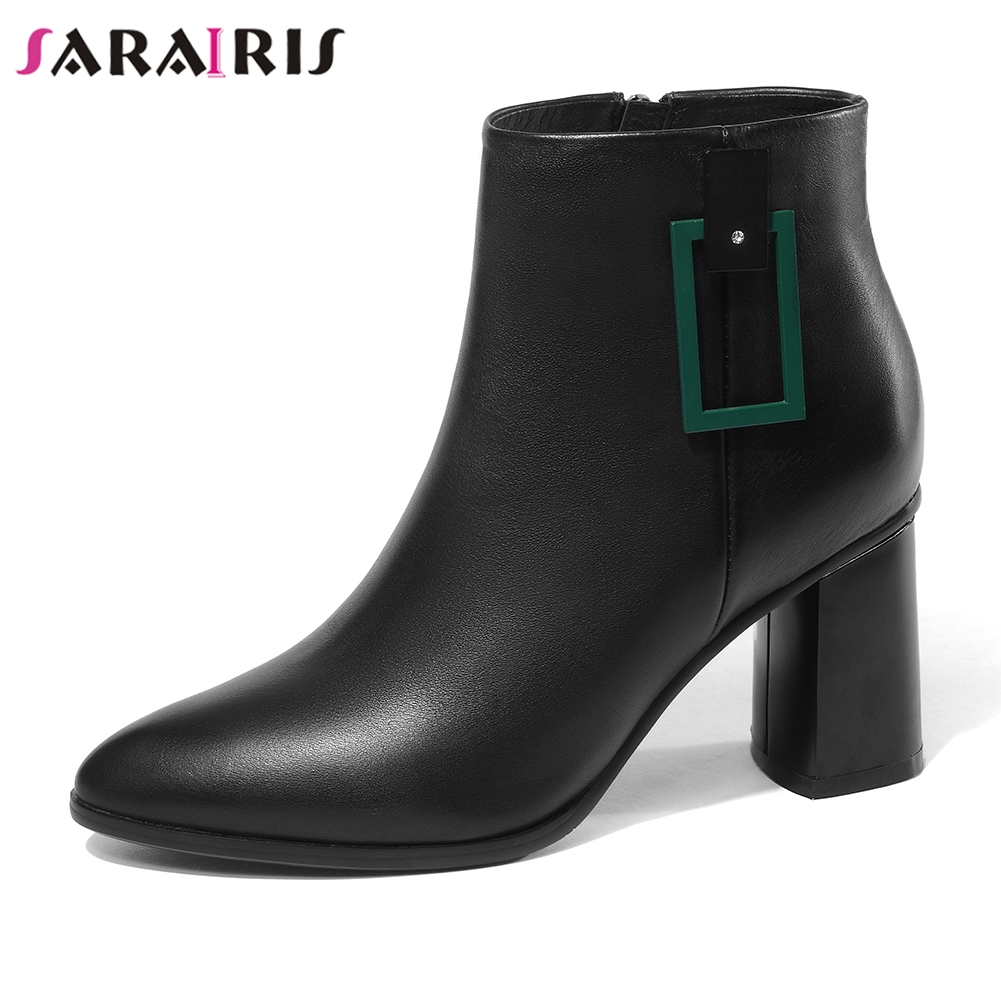 SaraIris Brand New Wide High Heels 7.5cm Zip Pointed Toe Shoes Woman Cow Leather Casual Autumn Winter Ankle Boots Big Size 34-42SaraIris Brand New Wide High Heels 7.5cm Zip Pointed Toe Shoes Woman Cow Leather Casual Autumn Winter Ankle Boots Big Size 34-42