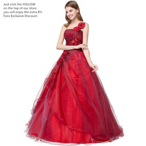 Image 2 - Ruthshen BallชุดQuinceaneraเดรสVestidos De 15สีแดงหวานสิบหกชุดหนึ่งไหล่Debutante Gowns Robe De Bal 2019