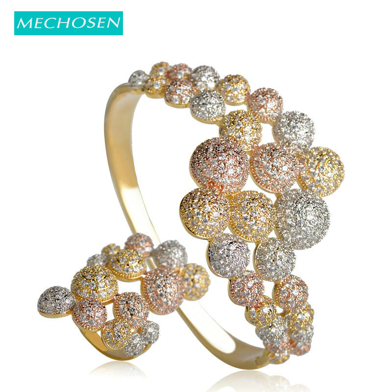 MECHOSEN Exquisite Women Jewelry Sets Big Whirling Bangle Ring Brass 3 Tones Micro Paved CZ Zircon Pulseira Aneis Accessories