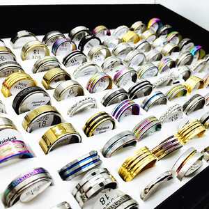 Image 2 - 50pcs stainless steel rings mixed styles mens womens top fashion jewelry wholesale lot bulk brand new