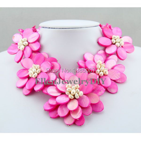 Exquisite Hot Pink Shell Necklace,Holiday Party Necklace,Bridesmaid Gift,White Flower Shell Necklace Pearl Jewelry