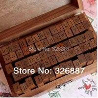 나무 스탬프 알파벳 디지털 편지 씰 70 개 세트 표준화 양식 우표 DIY 스크랩북/카드 만들기 장식