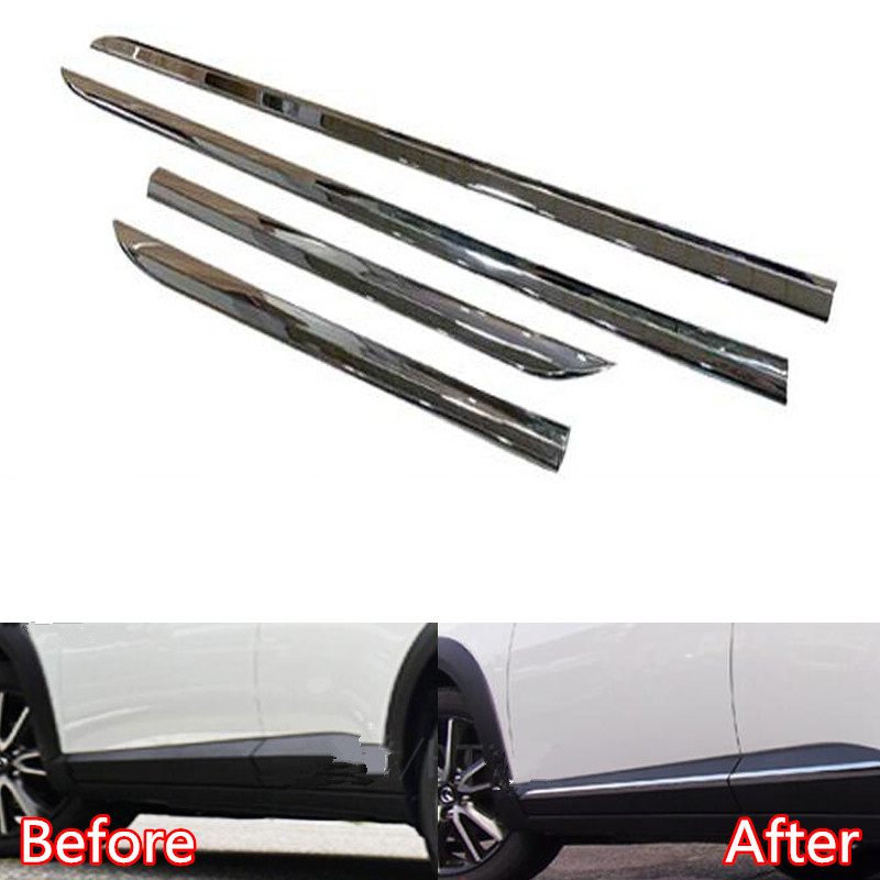 For Mazda CX-3 2016-2018 ABS Chrome Car Outer Door Side Lining Body Molding Strip Cover Trim Car Accessories Styling 4Pcs/setFor Mazda CX-3 2016-2018 ABS Chrome Car Outer Door Side Lining Body Molding Strip Cover Trim Car Accessories Styling 4Pcs/set