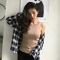 Korean Style Sexy Strapless Sleeveless Neck Knit Small Vest Female Slim Was Thin Shirt