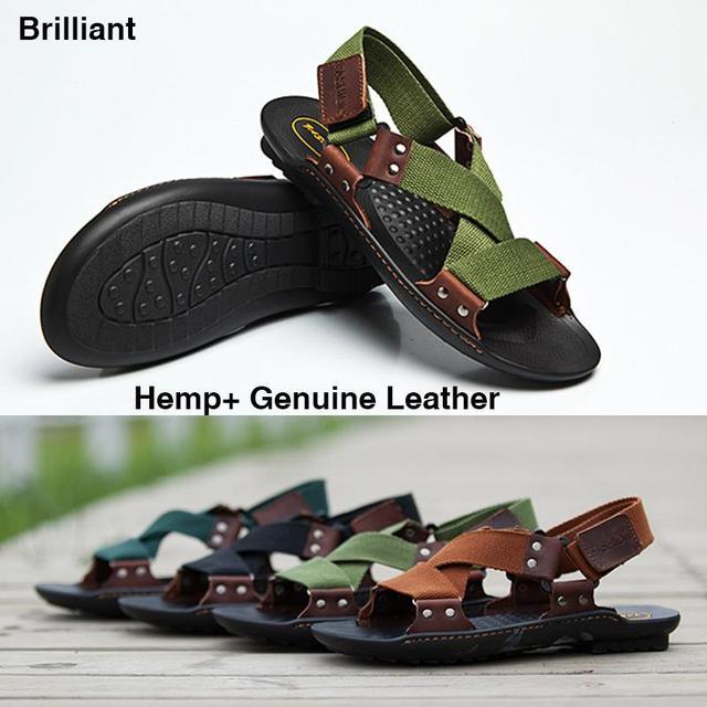 98182a3d9c633 New 2015 Sandals Men Brand Classic Design Hemp+Genuine Leather Beach  sandals Men Slippers flip flops Summer Shoes Sandalias H166