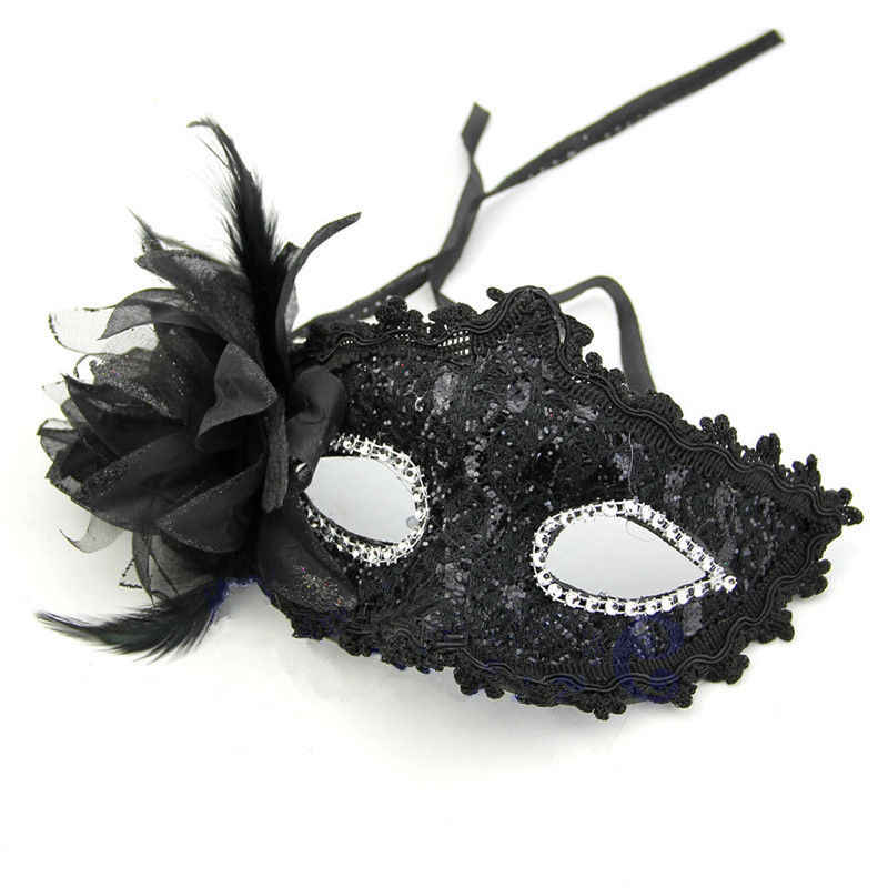 8ef84a3923db Sexy Masquerade Ball Eye Mask Feather VENETIAN PARTY FANCY DRESS CARNIVAL  Lace Masks Black Red Silver