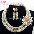 Elegante Conjunto de Jóias de Casamento Nigeriano Beads Africanos conjunto de Jóias de Cristal Colar de Mulheres Conjunto de Jóias Conjuntos de Jóias E1119