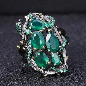 Image 5 - GEMS BALLET Conjunto de joyería Vintage de piedra Ágata verde Natural para mujer, juegos de pendientes de anillo hechos a mano de Plata de Ley 925