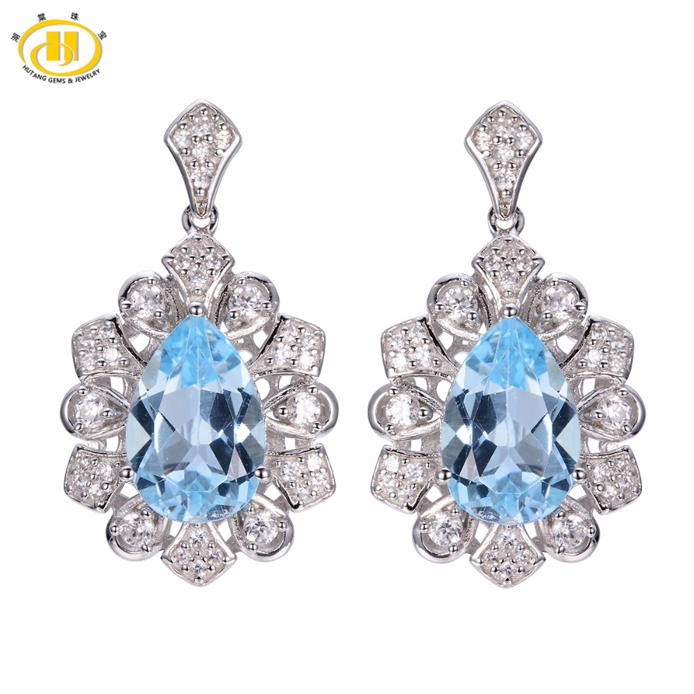 Hutang Solid 925 Sterling Silver Vintage Style 6.89ct Natural Gemstone Sky Blue Topaz Earrings Fine Jewelry For Women's Gift