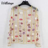 Willstage Sequins Lips Embroidery T shirt Long Sleeve Printed Hollow out Sexy Transparent Mesh Shirts Bling Party blusa 2018 NEW