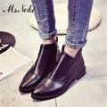 Dedo del pie acentuado botas de tobillo de mujer 2016 otoño invierno de la marca de moda de cuero botas cortas señoras talones planos ocasionales zapatos de mujer botines