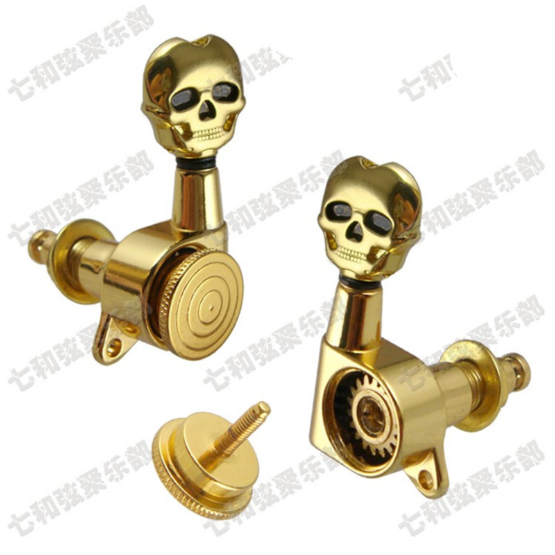 3R3L Gold Skull Head Locked String Guitar Tuning Pegs keys Tuners Machine Heads for Acoustic Electric Guitar a set of 3r3l string tuners tuning peg machine heads for classical guitar