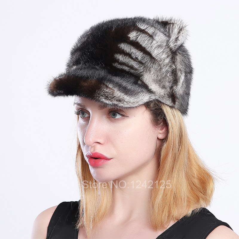 New Autumn winter parent-child women lady girl real mink fur hat cute luxurious cat ear with tail mink baseball fur cap hats hot mink skullies beanies hats knitted hat women 5pcs lot 2299