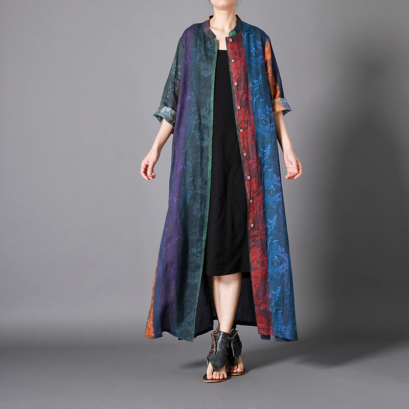 Linen top quality   trench   coat for women plus size long coat patchwork overcoat women vintage elegant personality printed fashion