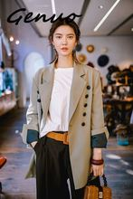 Genuo 2019 New Niche Fashion OL Blazers For Women Spring Females Notched Long Sleeve Contrast Color Casual Jacket YG61402